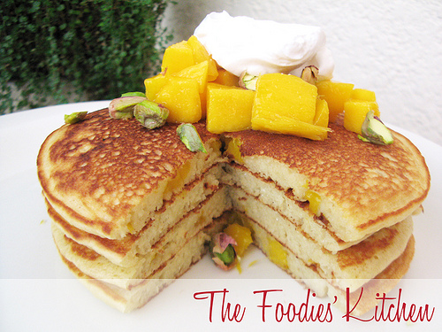 Mango Pancakes with Coconut Whipped Cream
