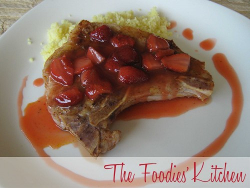 Chile Dusted Pork Chop with Strawberries