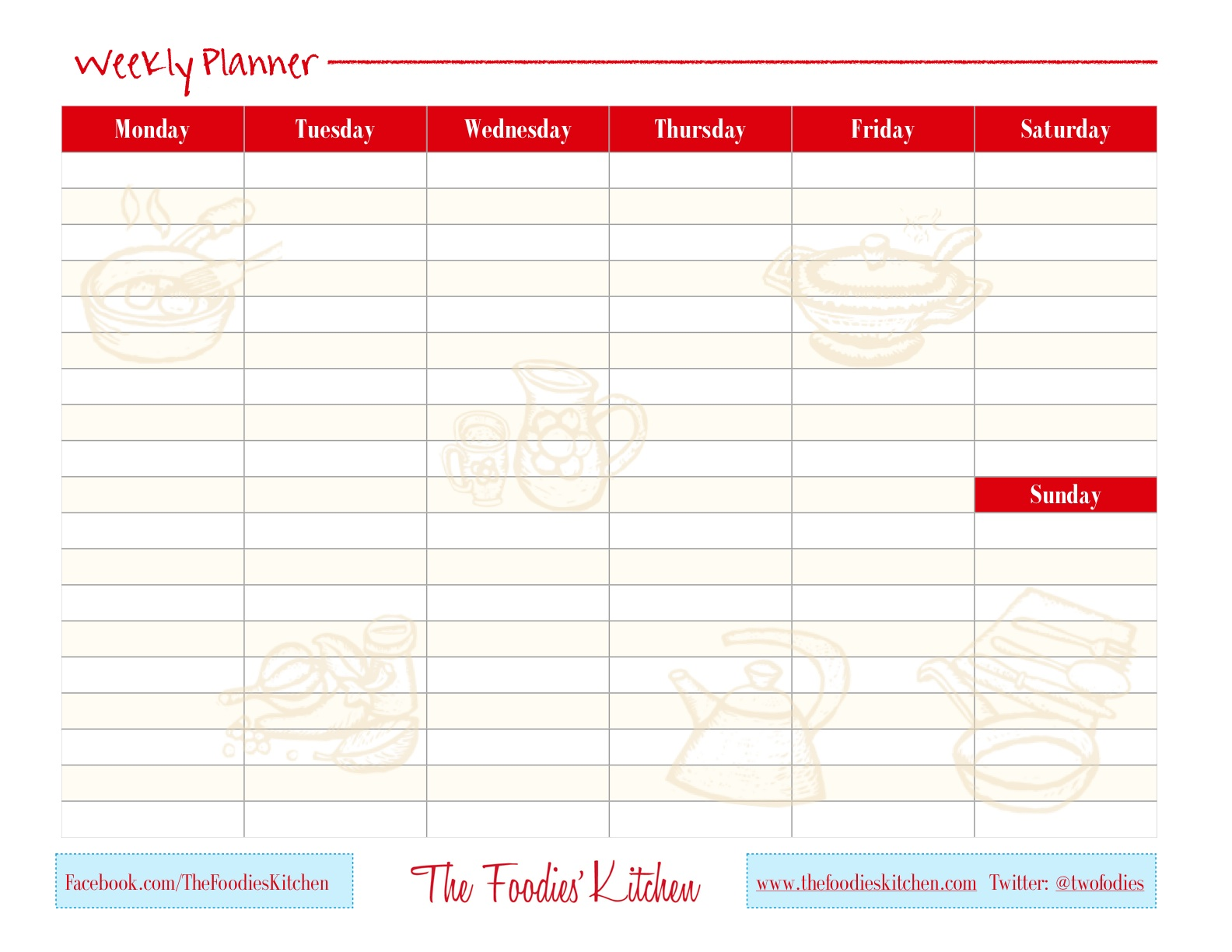 The Foodies' Kitchen Weekly Planner