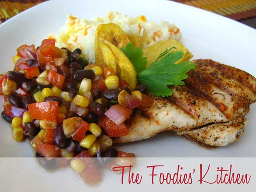 Spicy Grilled Chicken with Bean Salad and Cumin Vinaigrette